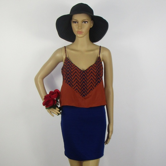 19e67d4b424 THML Clothing NWT Dress Burnt Orange Blue Size S
